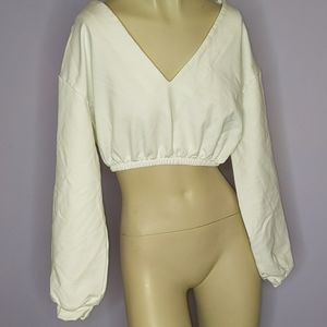 Meshki - cropped white sweatshirt
